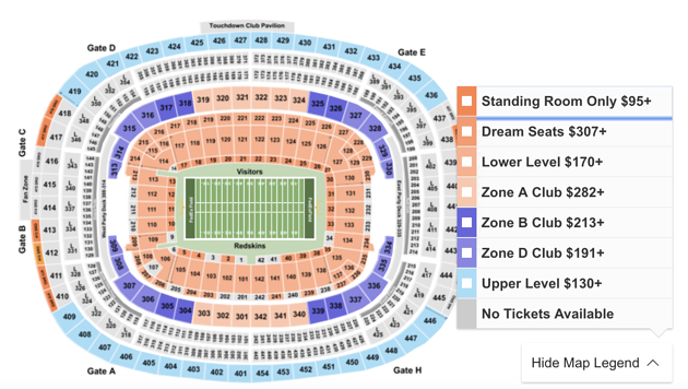 7556b037 How To Find Cheapest 2019 Cowboys Vs. Redskins Tickets at Fedex Field
