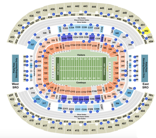 Att Stadium Seating Chart With Row Seat And Club Details