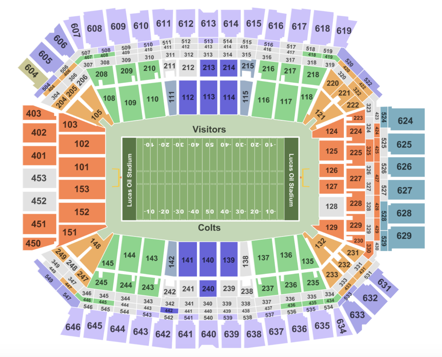 Lucas Oil Stadium Seating Chart Section Row And Seat