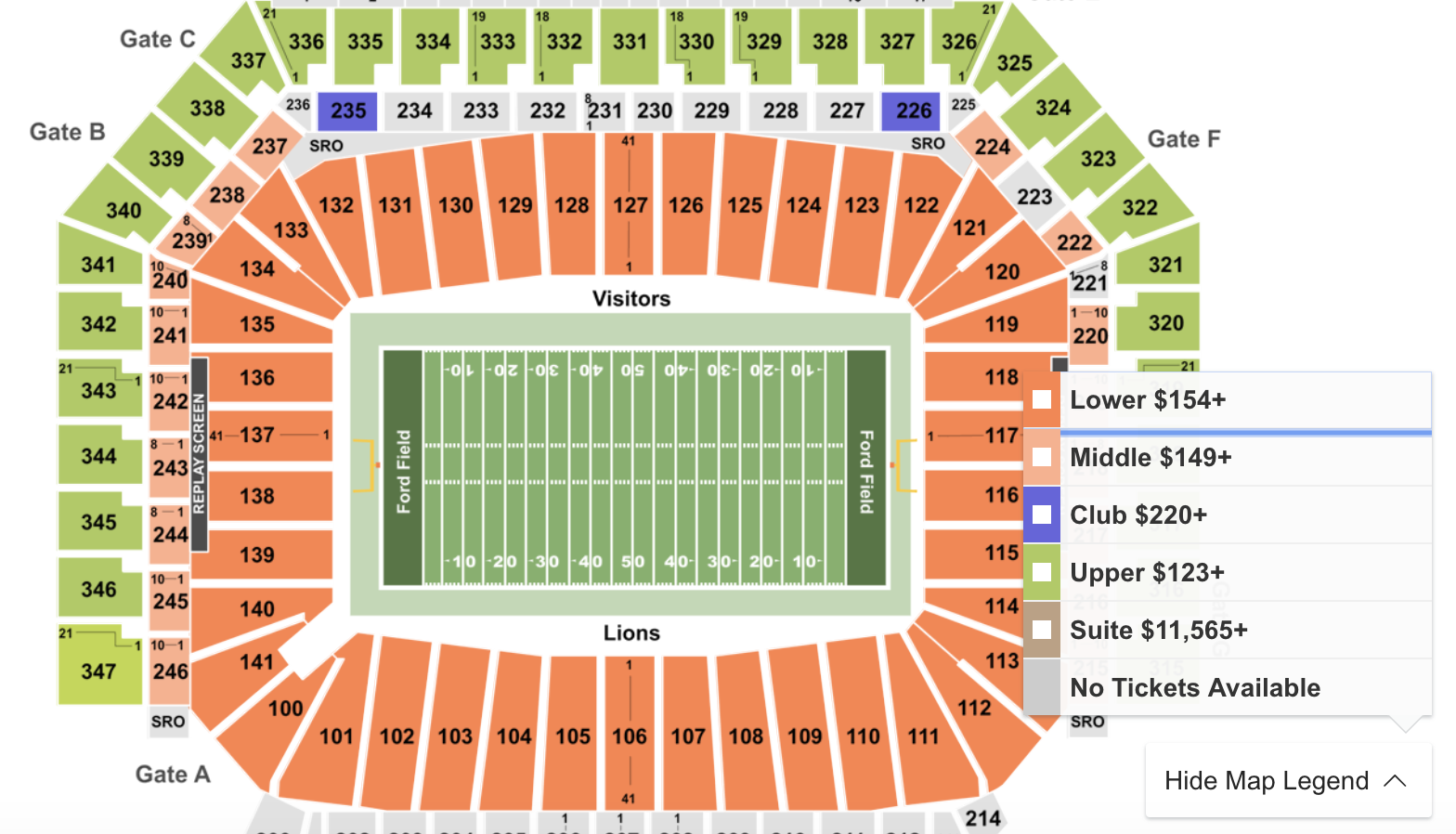 Where To Find Cheapest 2019 Cowboys Vs. Lions Tickets atFord Field
