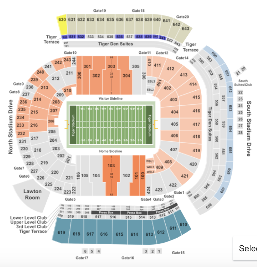 LSU Tiger Stadium Seating Chart + Seat, Row, Club Info